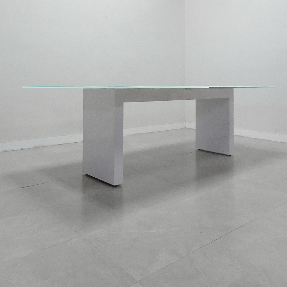 120 In. Axis Rectangular Meeting Table Glass Top - Stock #415