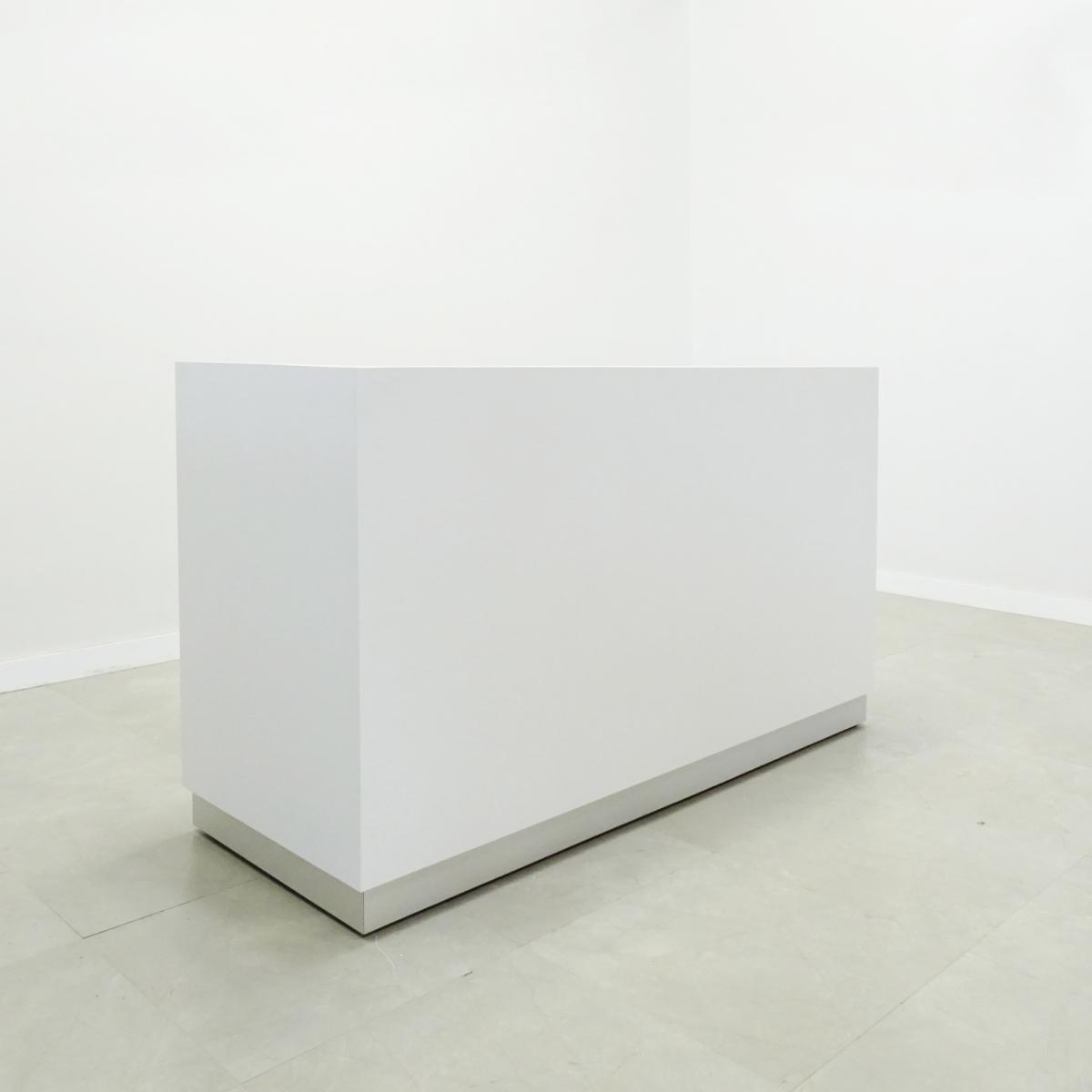 84 In. Dallas L Shape Reception Desk White Gloss Laminate - Stock #30