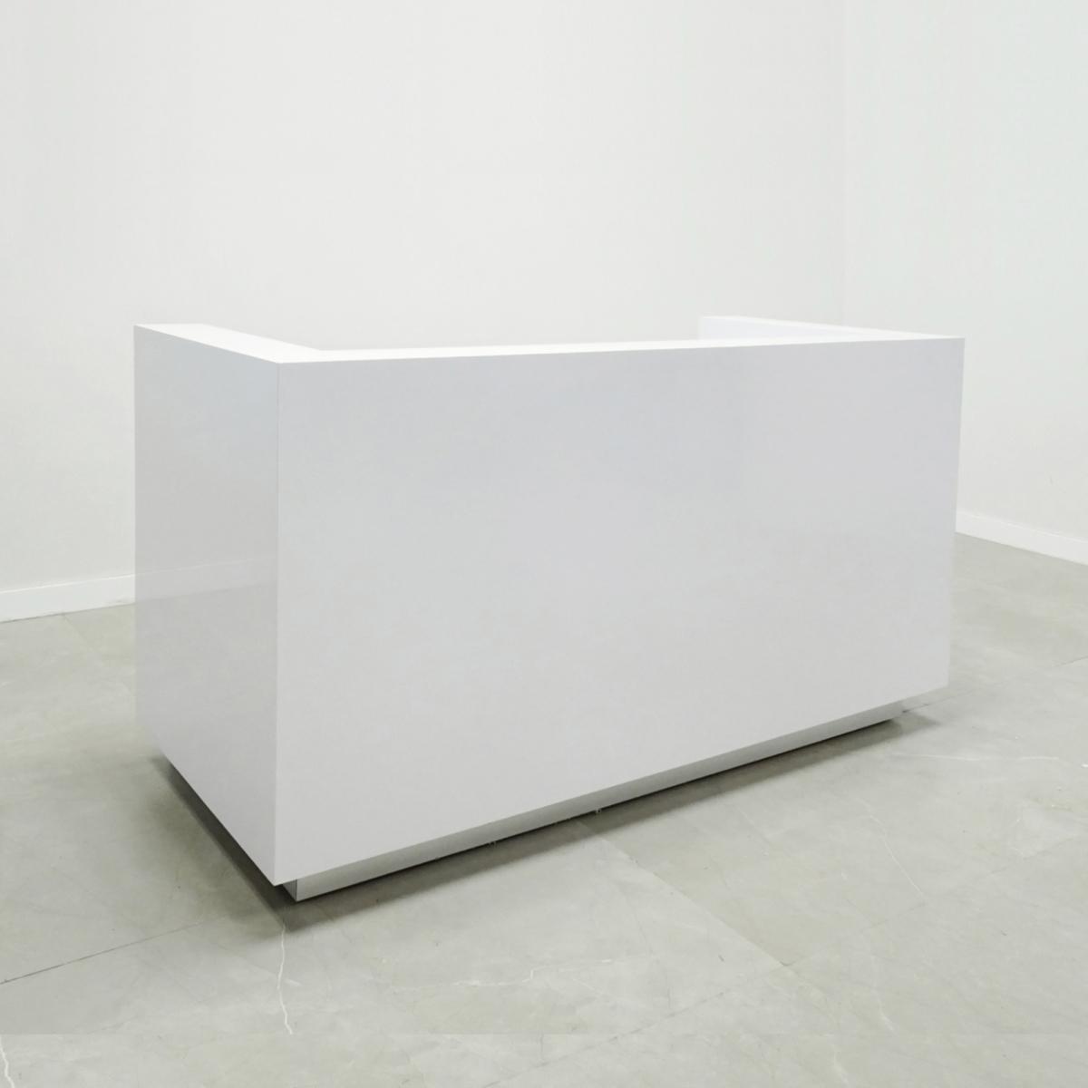 84 In. Dallas U - Shape Custom Reception Desk White Gloss Laminate