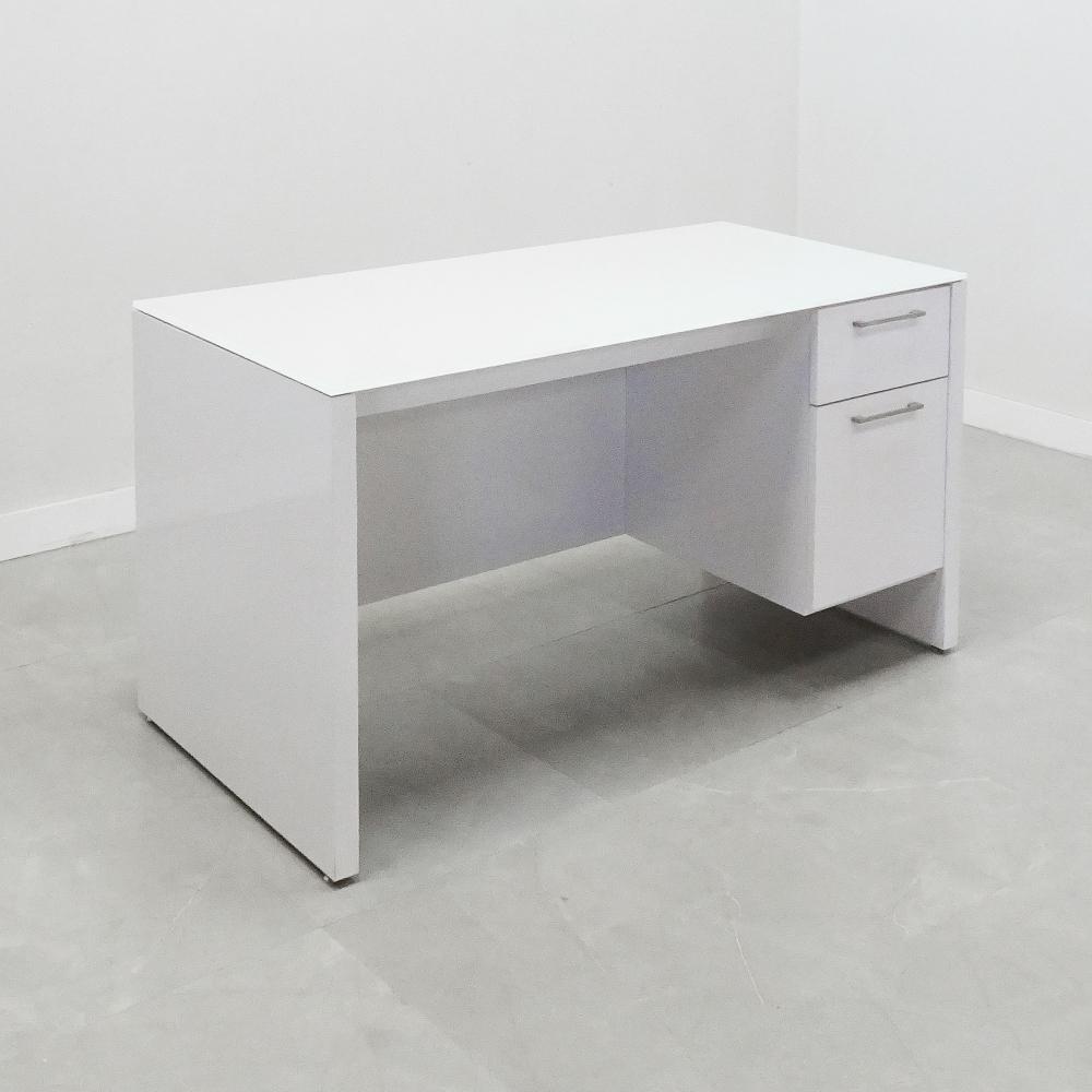 60 In. Denver Top Glass Desk with Storage