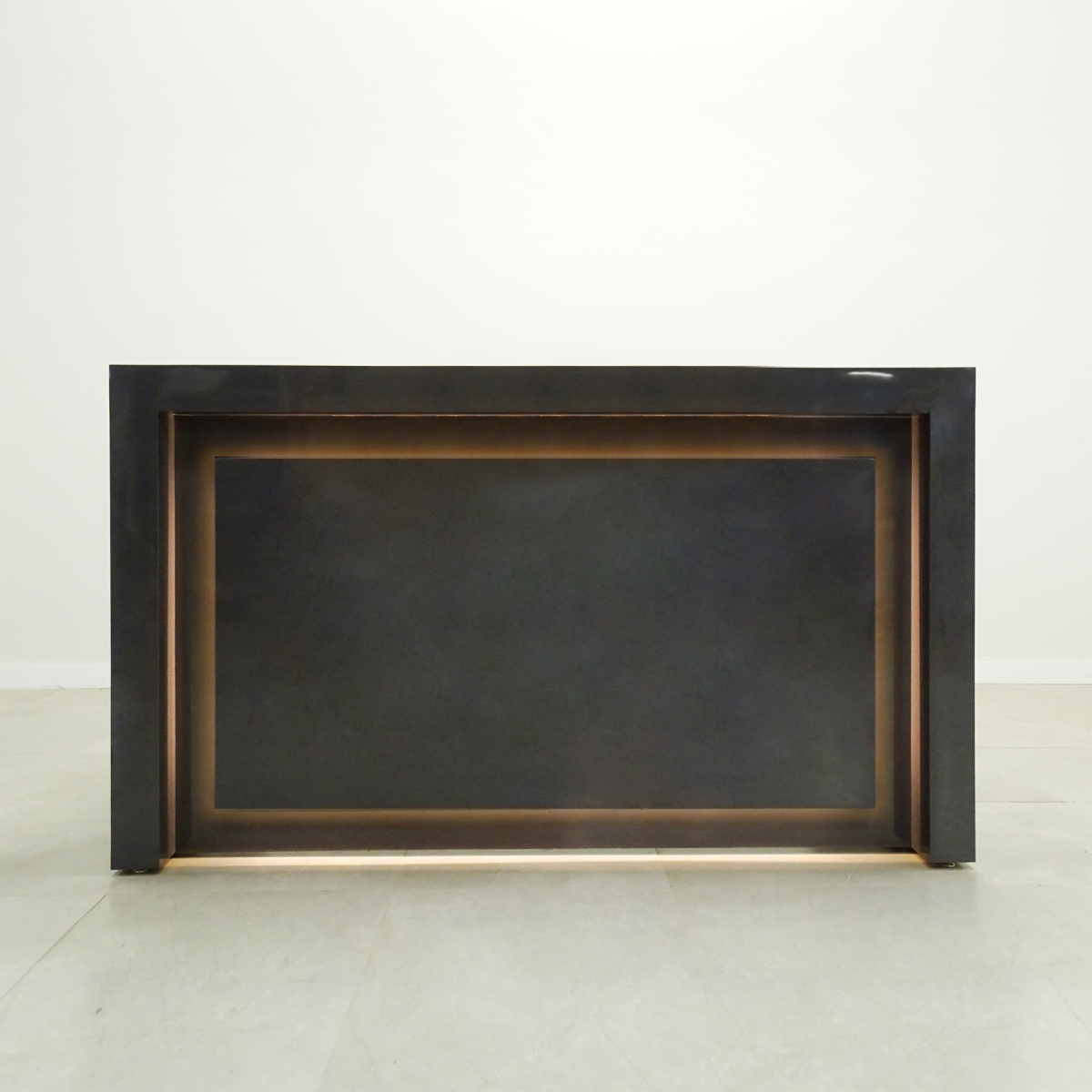New York Desk in Charcoal Gloss Laminate