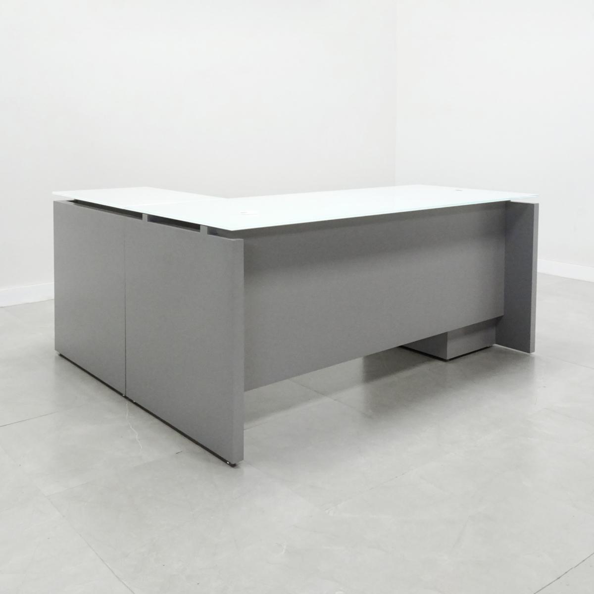 Denver Glass Top L-Shape Desk