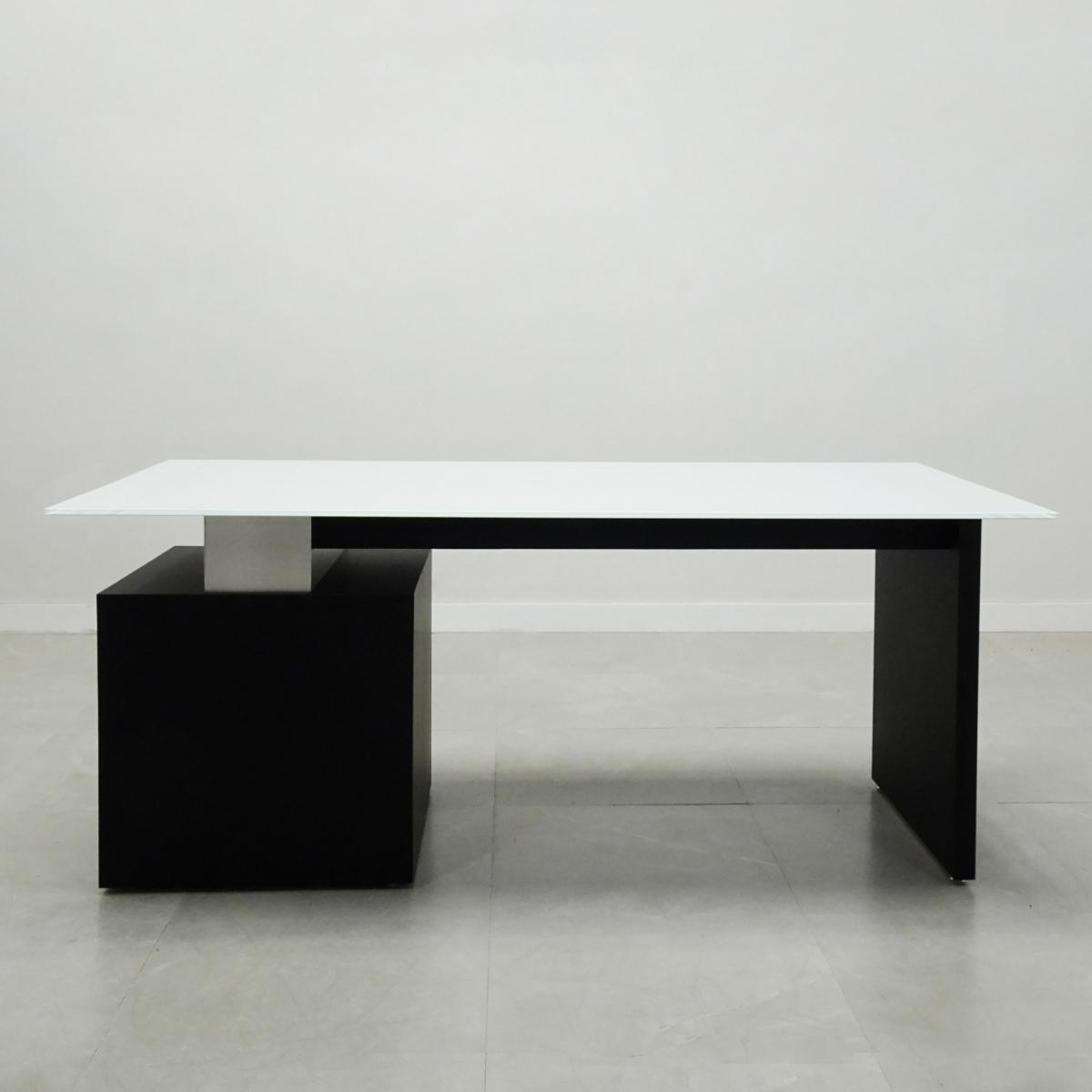 Avenue Straight Glass Executive Office Desk