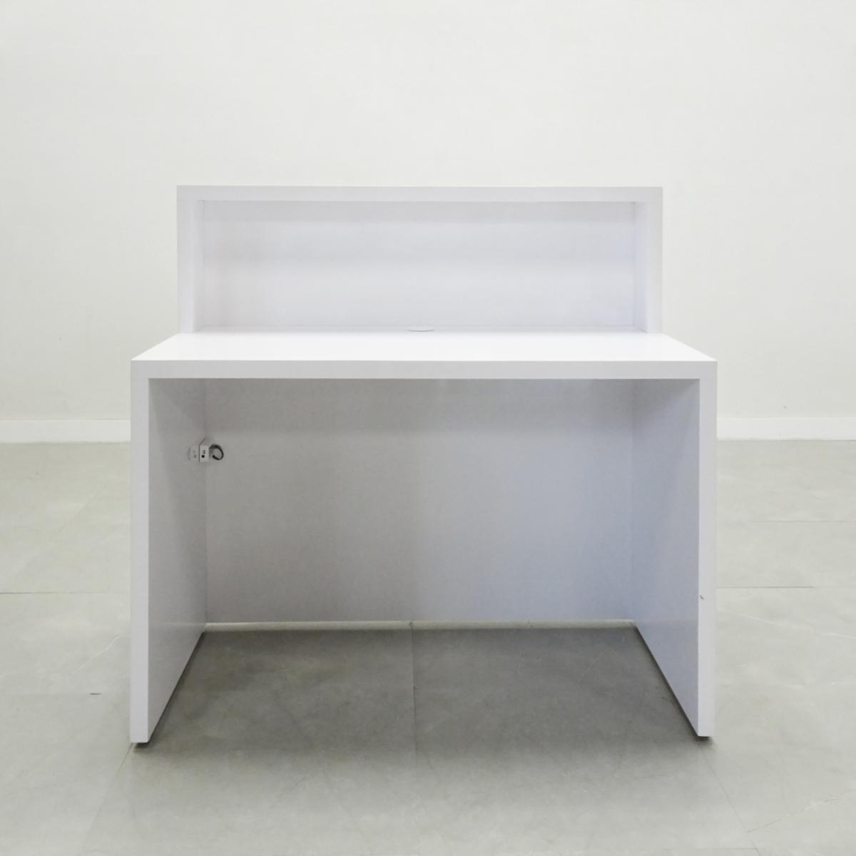 54 In. San Francisco Straight Reception Desk in White Gloss