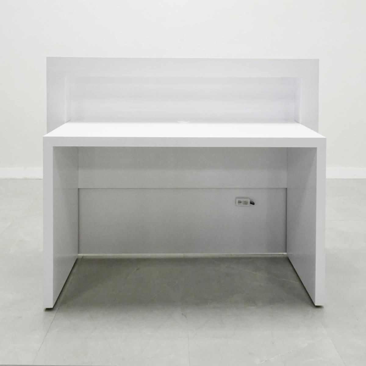 60 In. New York Reception Desk in White Gloss Laminate - Stock #100