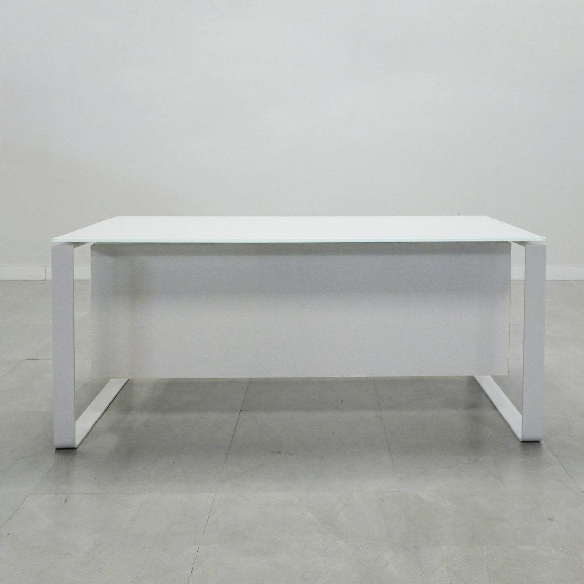 72 In. Aspen white frame white Glass Top Desk