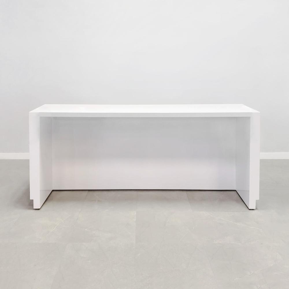 72 In. Houston Reception Desk in White Gloss Laminate