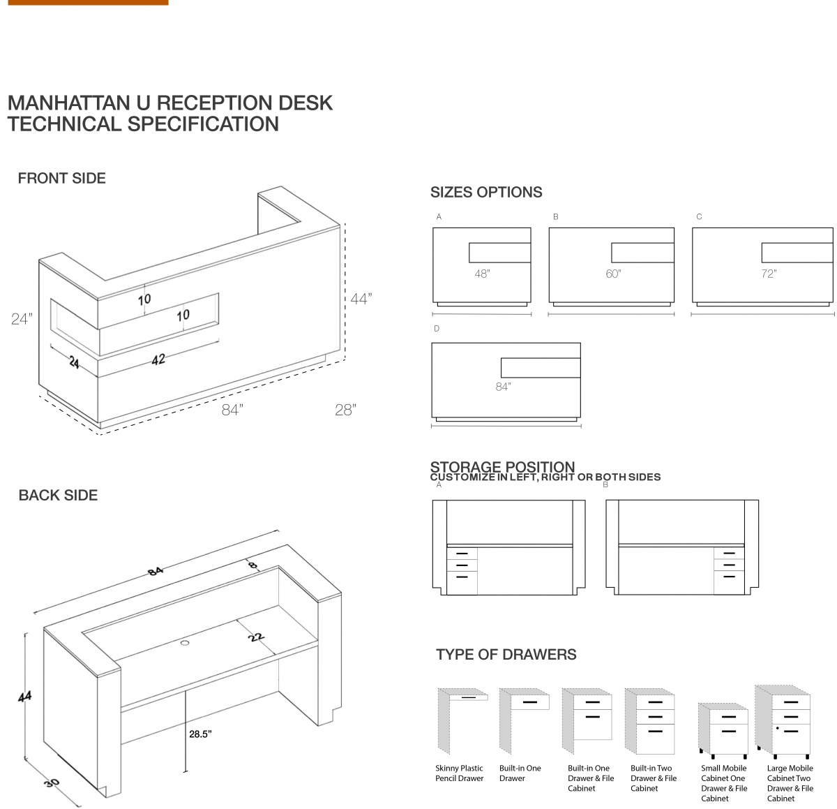 Manhattan U-Shape Custom Reception Desk
