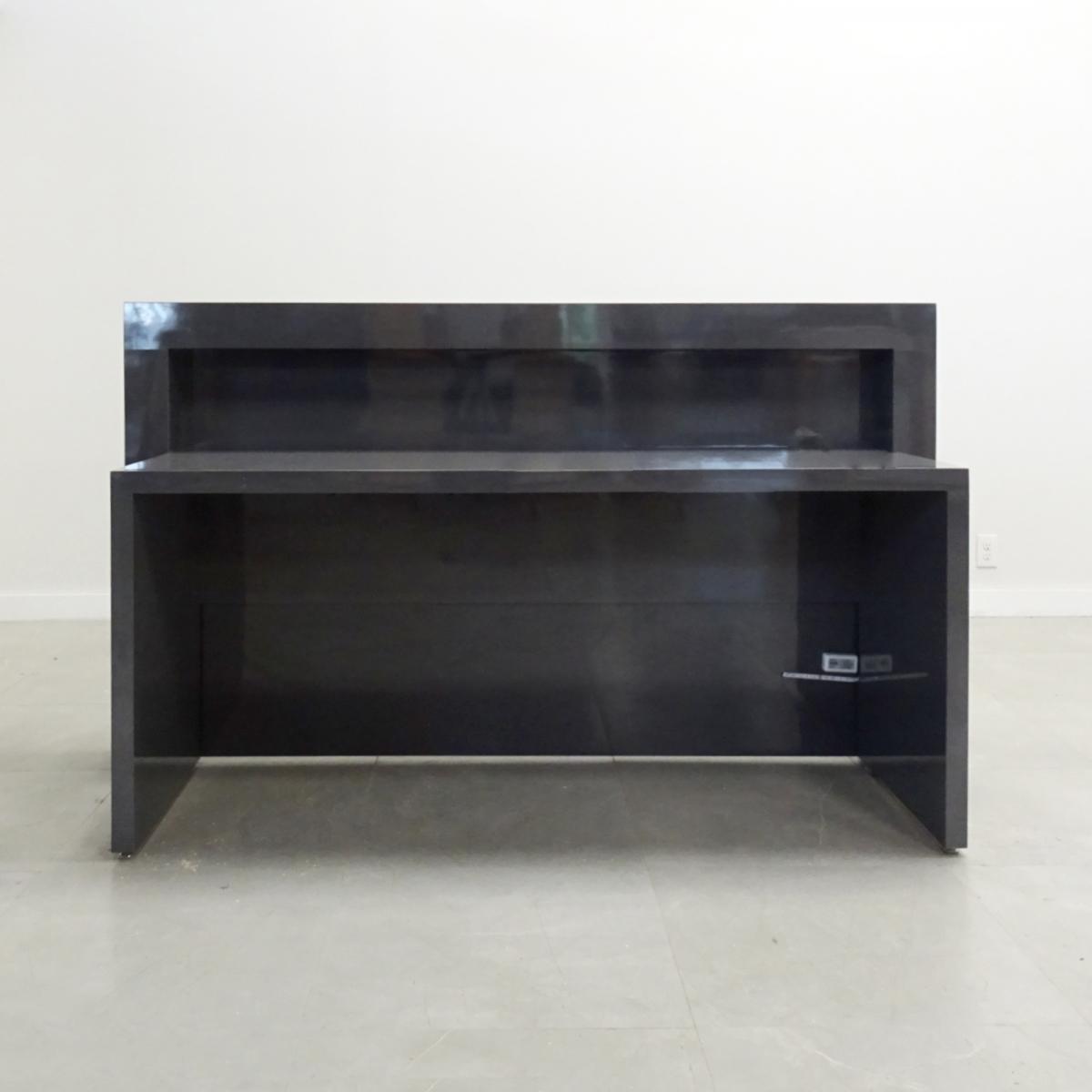 48 In. New York Reception Desk in Black Gloss Laminate
