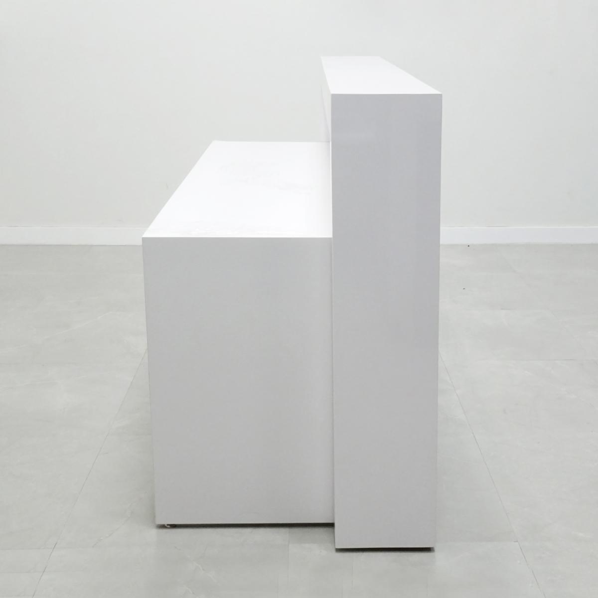 48 In. New York Reception Desk in White Gloss Laminate