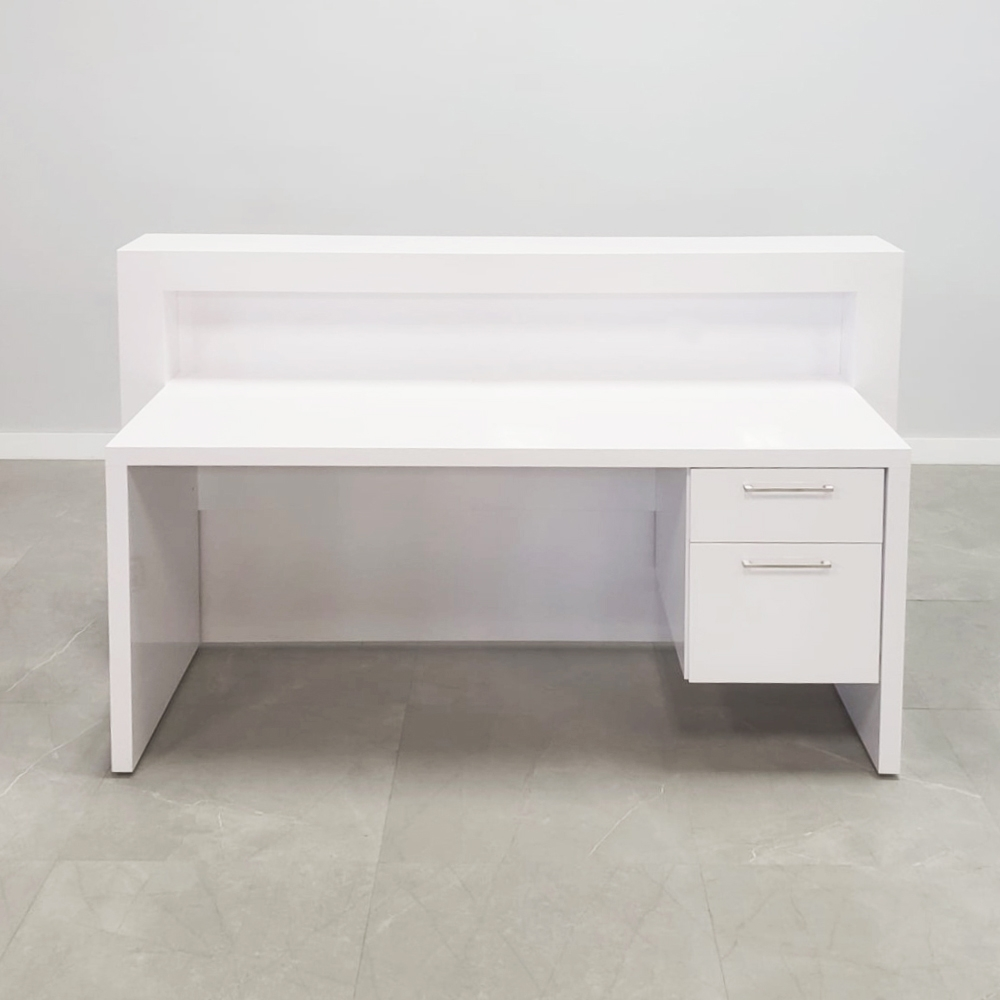 72 In. New York Reception Desk in White Gloss Laminate with Storage