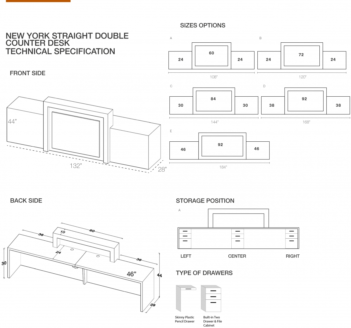 New York Extra Wide Reception Desk