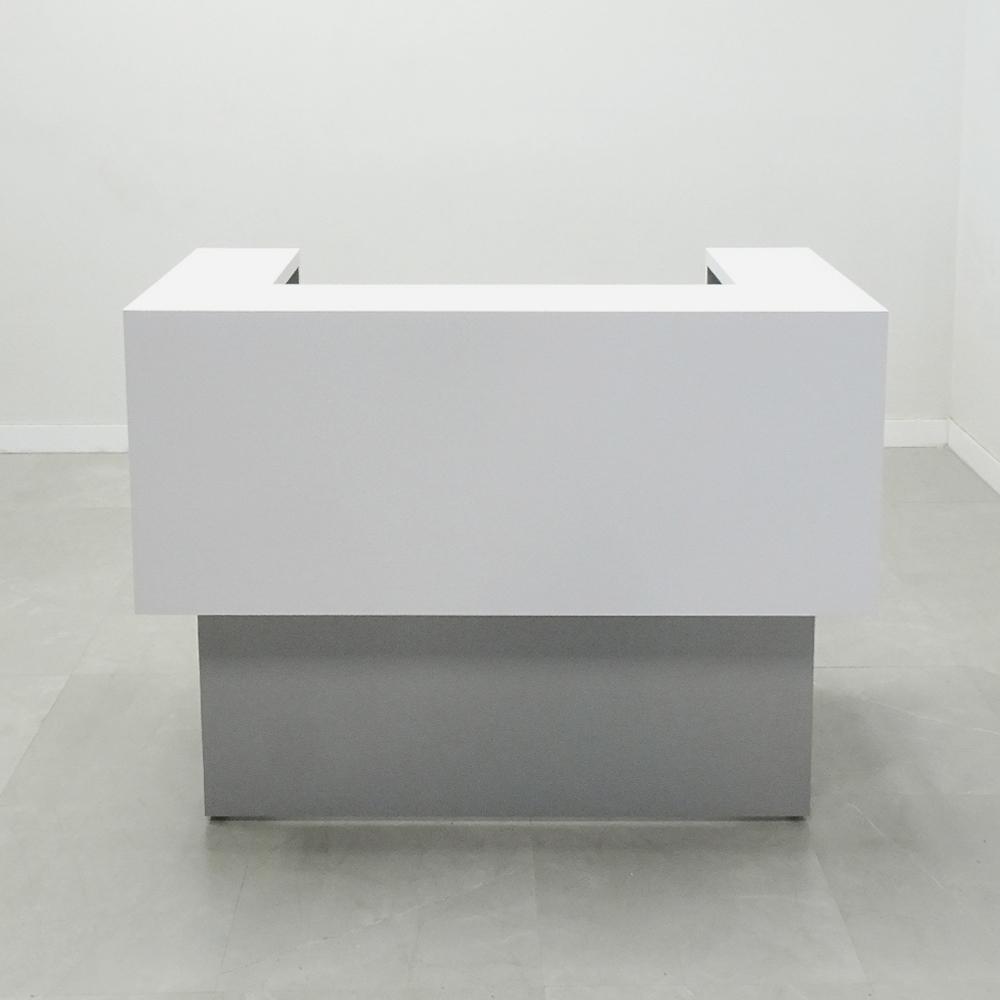 60 In.  San Francisco U-Shape Reception Desk White & Gray Matte Laminate