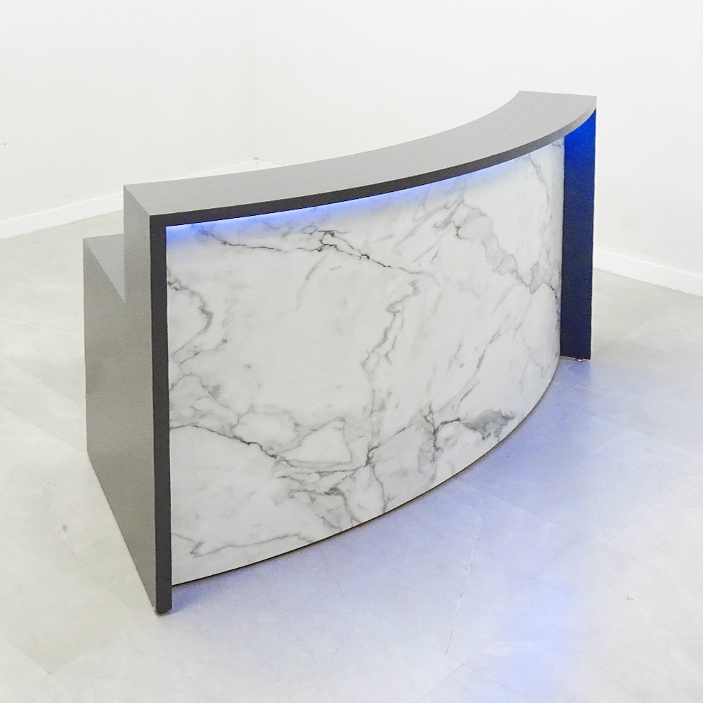 72 In. Seattle Curved Reception Desk in Dark Gray and Stone - Stock #80