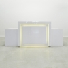 The New York reception Extra Wide desk is shown here in all White Gloss Laminate Base.