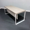 Aspen Straight Solid Top Desk is shown here with a Metal White and a Uptown Walnut Laminate top.