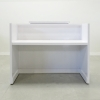 Chicago reception desk is shown here with a White  Gloss Laminate Base and a White Gloss Laminate Counter.