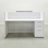 Chicago reception desk is shown here with a White Gloss Laminate Base & Counter, extra a Storage.