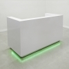 Dallas reception desk U shape is shown here with a White Gloss Laminate Base and Toe-kick with Led Light