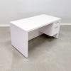 Denver Laminate Desk is shown here with an all White Gloss Laminate Base.