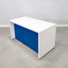 Denver Laminate Desk is shown here with a White Matte Laminate Base and a Blue Matte Laminate Base.