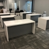 Denver Laminate Desk is shown here with a White Matte Laminate Base and a Gray Matte Laminate Base.