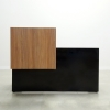 Los Angeles Straight reception desk is shown here with a Black Gloss Laminate Base and a Planked Oak Laminate Counter.