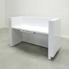 Dallas reception desk is shown here with a White  Gloss Laminate Base, Toe-kick and Skinny Pencil Drawer.
