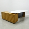 Avenue curved Glass Executive Desk is shown here with a Woodveneer Zebrawood  Base and a White glass top.