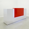 Chicago reception desk is shown here with a White  Gloss Laminate Base and a Red Gloss Laminate Counter.
