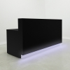 Dallas Straight Shape reception desk is shown here in all Black Gloss Laminate Base.