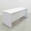 Denver Straight Glass Top Desk is shown here with a White gloss Laminate Base and a White glass top.