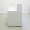 Las Vegas Shape reception desk is shown here with a all White Gloss Laminate Base and Toe - kick.