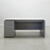 Denver Straight Glass Top Desk is shown here with a Gray Matte Laminate Base and a White glass top.