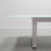 Axis Boat Shape Glass Meeting Table is shown here with a White gloss Laminate Base and a White glass top.