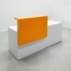 Los Angeles Straight reception desk is shown here with a White  Gloss Laminate Base and a Orange painted Counter.