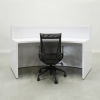 Seattle Curved Reception Desk is shown here with a all white gloss Laminate Base.