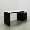 Avenue Straight Glass Executive Desk is shown here with a Black gloss Laminate Base and a White glass top.