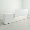 Los Angeles long reception desk is shown here with a all White Gloss Laminate Base Counter.