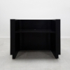 Nola Custom Reception Desk is shown here with a all Black Gloss Laminate Base and Toe-kick.