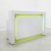 The New York reception desk is shown here in all White Gloss Laminate Base.