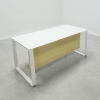 Aspen Straight Glass Top Desk is shown here with a Metal White and a White glass top.