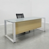 Aspen Straight Glass Top Desk is shown here with a Metal White and a Gray glass top.