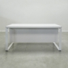 Aspen Straight Solid Top Desk is shown here with a Metal White and a White solid gloss Laminate top.