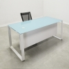 Aspen Straight Glass Top Desk is shown here with a Metal White and a Blue glass top.