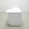 Dallas ADA Shape reception desk is shown here with a White  Gloss Laminate Base and Toe-kick.