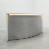 Seattle Curved Reception Desk is shown here with a Storm Teakwood gloss Laminate Base and a White gloss top.