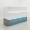 Floridian Custom Reception Desk is shown here with a White Gloss Laminate Base and a Gray Gloss Laminate Base .