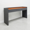 Aspen Console Table is shown here with a Dark Gray traceless Laminate Base and Orange Glass.
