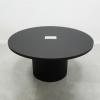 Axis Round Laminate Meeting Table is shown here with a Black Traceless Laminate Base.